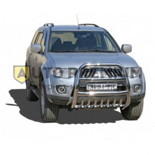 Защита переднего бампера с защитой двигателя Высокий d63,5 для Mitsubishi Pajero Sport 2008-2012 (нержавейка)